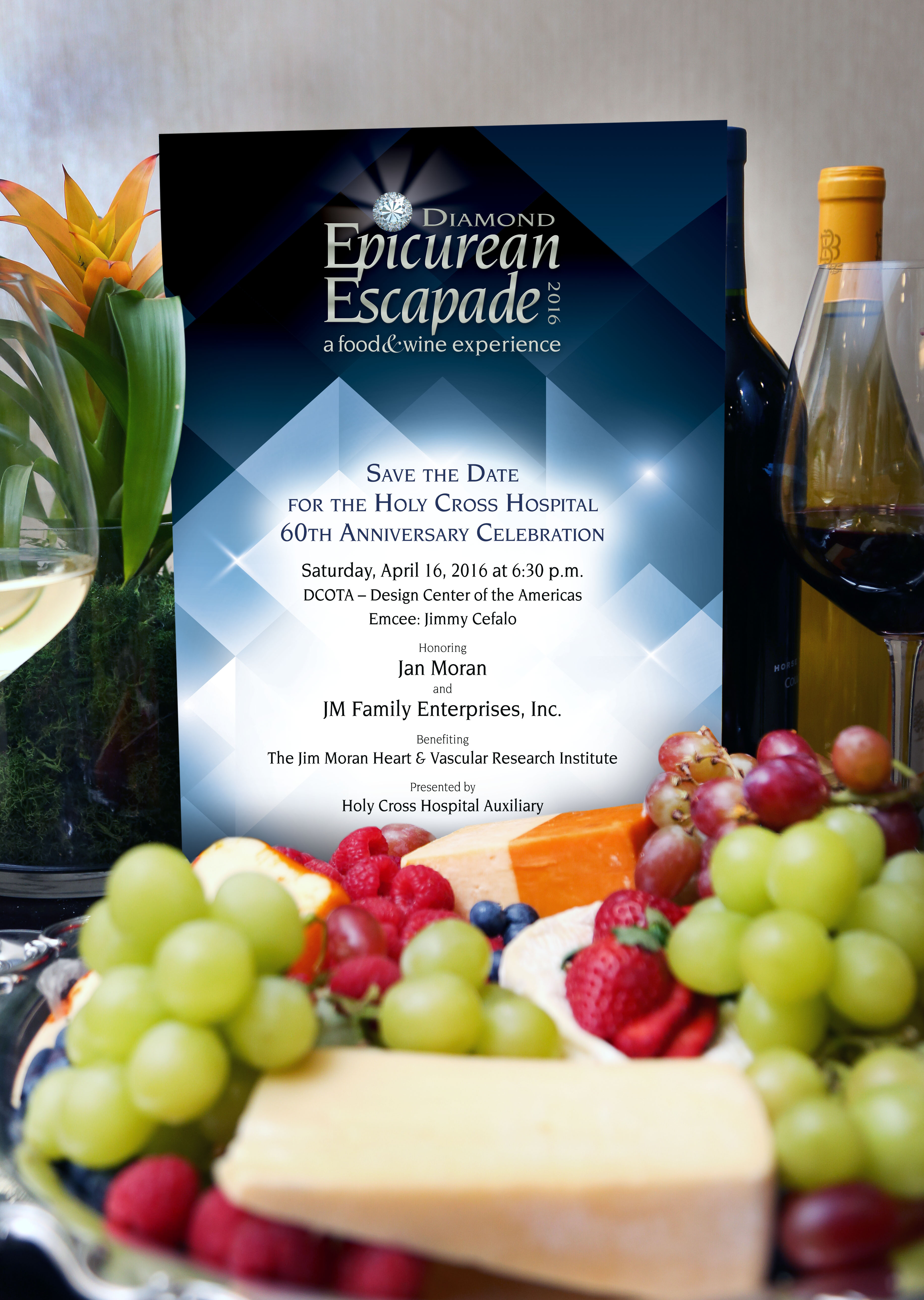 "The Holy Cross Hospital Auxiliary's ""Epicurean Escapade"" - a food & wine experience benefiting the Dorothy Mangurian Comprehensive Women's Center, takes place on Saturday, March 14, 2015 at 6:30 p.m. at Design Center of the Americas in Dania Beach."