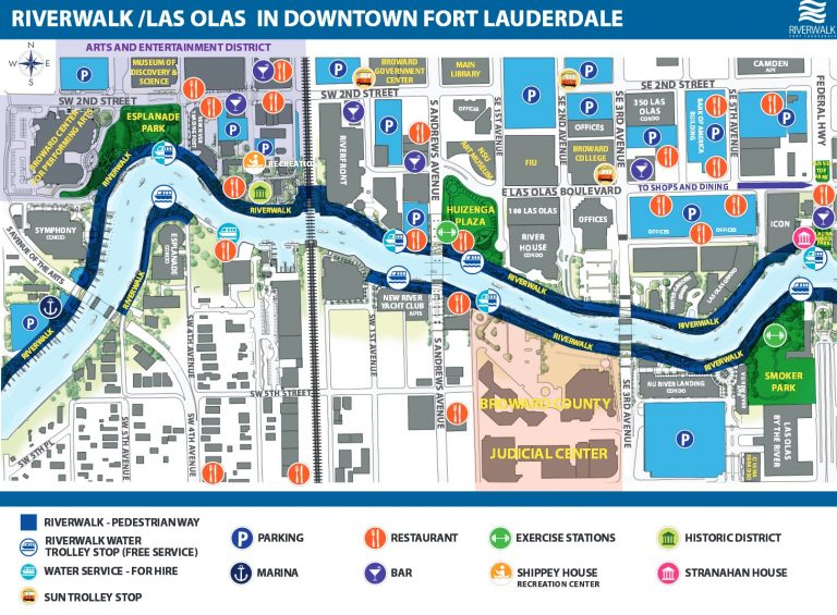 Image of map of Riverwalk/Las Olas in Downtown Fort Lauderdale