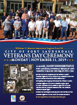 An image of a flyer for the City of Fort Lauderdale's Veterans Day Ceremony